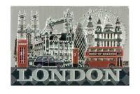 London Souvenir Fridge Magnet Landmarks Tower Bridge Red Bus Black Taxi Big Ben