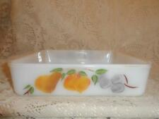 Vintage Fire-King Milk Glass Gay Fad Fruit 2-Hdl Square Cake Baking Pan OvenWare
