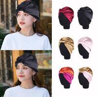Turban Caps Headband Elastic Silk Hair Bonnet Head Cover Satin Sleep Hat