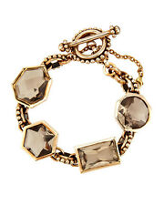 Stephen DWECK Smoky QUARTZ Bronze Gold Tone Bracelet Cuff Bangle Statement NEW
