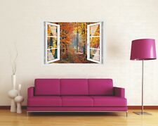 Wandtattoo Fenster 3D Optik Wandsticker Aufkleber Deko Bild - Herbst Wald