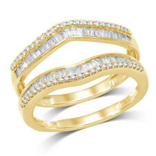 Solitaire Enhancer Round Diamonds Ring Guard Wrap 14k Yellow Gold Over Jacket