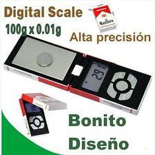100 x 0,01 gramos Balanza de precision Bascula tamaño y forma paquete tabaco ///