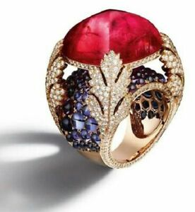 14 Yellow Gold Plated Huge Cocktail Ring Ruby Sugarloaf Sim Diamond Big Jewelry