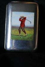 Silver case with enamel picture of golfer Birmingham 1893 by Rolason bros