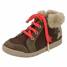 Girls Clarks Suede Leather Ankle Boots- Crazy Cake Inf - UK 9.5F EUR 27.5F