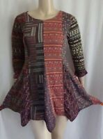 EAMZ 764 SACRED THREADS ARTSY ART TO WEAR Patched Pixie Hem Sweater Dress Large