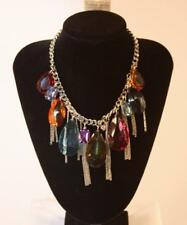 Necklace Premium Fashion Jewelry Silver Tone Chain & Multi-Color Teardrops JXEH