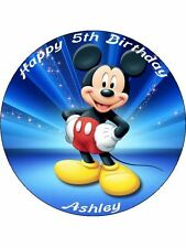 """Mickey Mouse 7.5"""" Rice Paper Birthday Cake Topper MBLUE"""