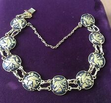 Vintage Spanish Damascene Bracelet Birds & Flowers