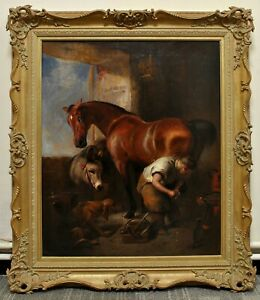 LARGE ANTIQUE 19TH CENTURY OIL ON CANVAS HORSE & FARRIER PAINTING EDWIN LANDSEER