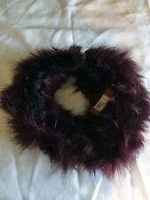 WB13 NWT Merona Women's Faux Fur Snood Scarf Maroon and black Winter  Christmas