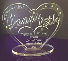 Personalised 18th Birthday Gift Heart with message -  Free Standing Keepsake