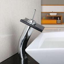 Black Glass Waterfall Brass Basin Sink Faucet Bathroom Deck Mounted Mixer Tap