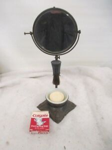 Victorian Apollo Beveled SHAVING MIRROR STAND Milk Glass Soap Bowl Brush #7418-1