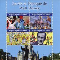 Chad Disney Stamps 2021 CTO Life & Times Walt Disney Mickey Mouse 4v M/S I