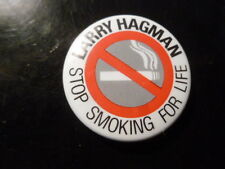 Larry Hagman Pin Back Stop Smoking Promotional Button Cigarette 1987 Video Store