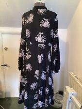 NEW LOOK WOMENS DRESS SIZE 12 Black Floral Midi