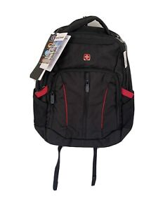 """Laptop Backpack by SWISSGEAR 18.5"""" ScanSmart Brand New Black With Red Trim"""