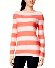 TOMMY HILFIGER $70 NEW Womens Pink Long Leeve Boat Neck Sweater S/P 100% Cotton