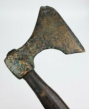 New listing Early Antique Heavy Bronze Axe With Wood Handle - Amazing Patina!