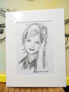 David Bromley Original DRAWING 41x32cm GIRL PORTRAIT Movie Working Drawing