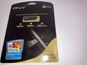 NEW SEALED PNY Attache 8GB Classic USB 2.0 Flash Drive BLACK P-FD8GBMINIECS2 A1