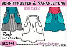 Rock mit Taschen pdf.Schnittmuster und Nähanleitung  Gr.:34-44