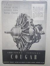 2/1946 PUB ARMSTRONG SIDDELEY MOTORS COUGAR RADIAL ENGINE MOTEUR ORIGINAL AD