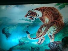 Vintage Antique Motion Tiger King Painting Sign Light Joe Exotic Glass Picture