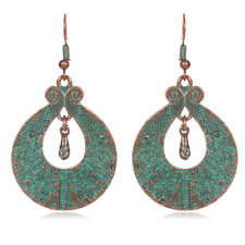 Hollow Out Round Dangle Ear Hook 1Pair Retro Bronze Green Carved Flower Earrings