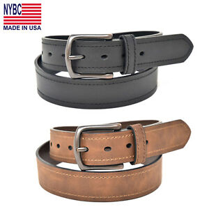 NYBC Colton Heavy Stitch Jean Men's Belt Antique Copper Finished Buckle US Made