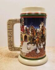 Budweiser 1998 Holiday Beer Stein Mug Clydesdale Horse Grants Anheuser Busch