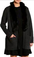 Women's NWT $595 MILLY Dark Gray Genuine Fox Fur Trim Jacket Size M