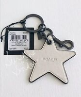 COACH PAC-MAN Leather STAR Bag Charm Key FOB Ring Clip #F56750 ORANGE RED IVORY