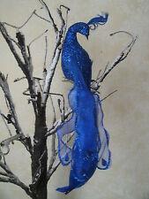 "Clip On Artificial feather bird Peacock ROYAL BLUE Wedding Anniversary 10"""