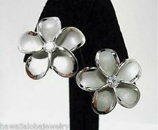 18mm Hawaiian Rhodium On STER Silver Brushed Satin Plumeria CZ Stud Earrings #1