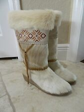 Tecnica Italy Women Ivory Embroidered APRES Pony Hair Winter Boots US 7.5 (EU 38