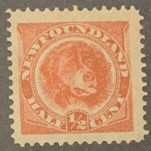 Newfoundland, 1896, Scott #57, 1/2c Dog, orange red, Mint, Hinged