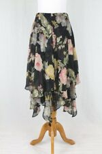 Lauren by Ralph Lauren Long Black Floral Print Silk Handkerchief Hem Skirt 2P