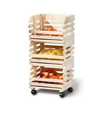 Wooden Vegetable Trolley Kitchen Fruit Organiser Bathroom Storage Box Camping
