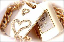 Love`s Tag Watch with sparkling crystals & Gold Chain Necklace Pendant