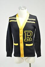 NWT RALPH LAUREN RUGBY YELLOW AND BLUE VARSITY LETTER CARDIGAN SWEATER SIZE XS