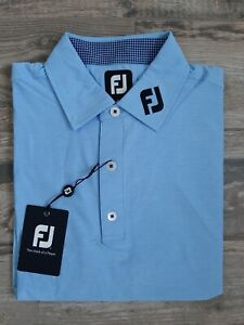NEW FootJoy Mens Lisle Solid Heather Sky Golf Polo Medium 26021