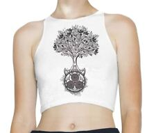 Celtic Spiral Tree of Life Sleeveless High Neck Crop Top