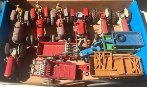 Vintage Dinky Tractors A box full of them