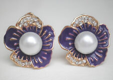 Clip on purple flower and faux pearl gold tone earrings with crystals Approx. 2.