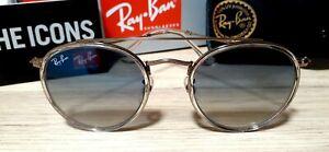 Ray-Ban Round Double Bridge *Defect* Blue Lens Sunglasses RB3647N 9068/3F
