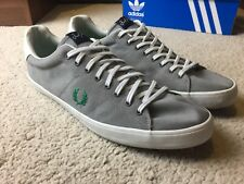 Fred Perry Mens Canvas Pumps Shoes Grey Plimsolls Shoes Size 10 UK Mod Casual