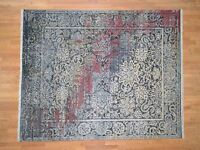 "8'1""x10' HandKnotted Broken Design Silk & Oxidized Wool Transitional Rug G40855"